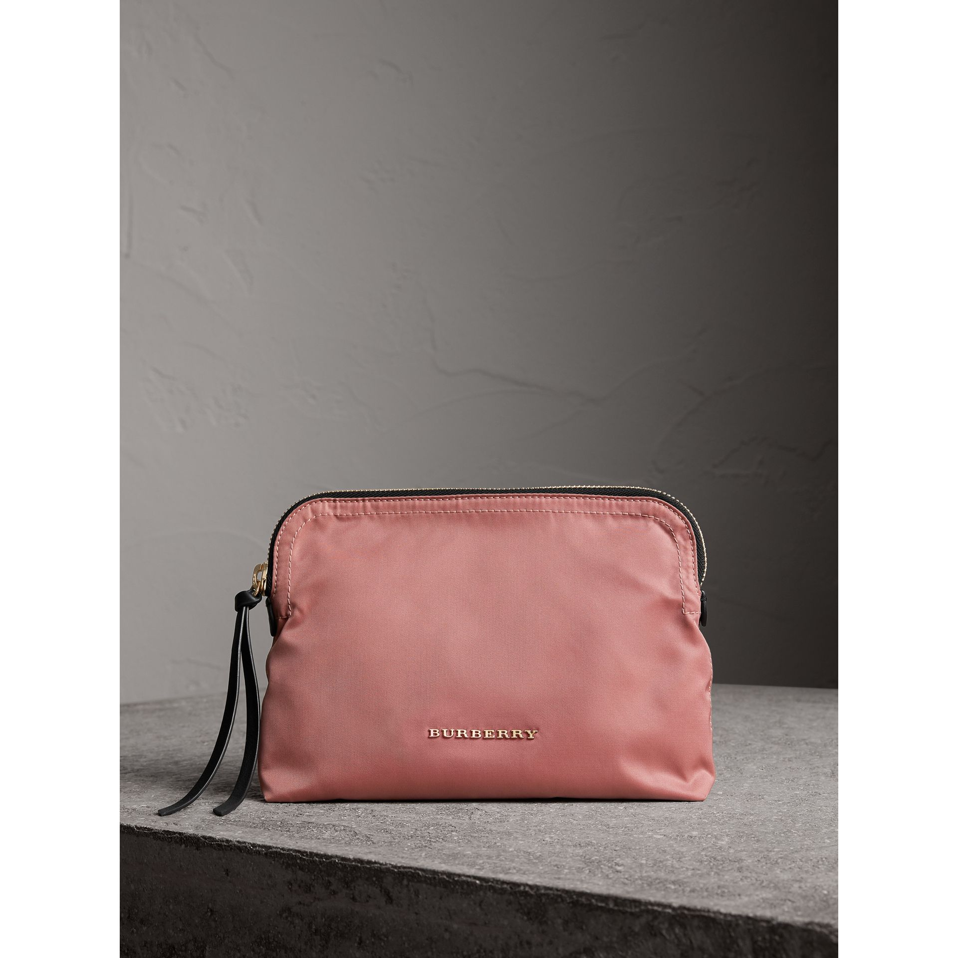 Large Zip-top Technical Nylon Pouch in Mauve Pink - Women | Burberry - gallery image 1