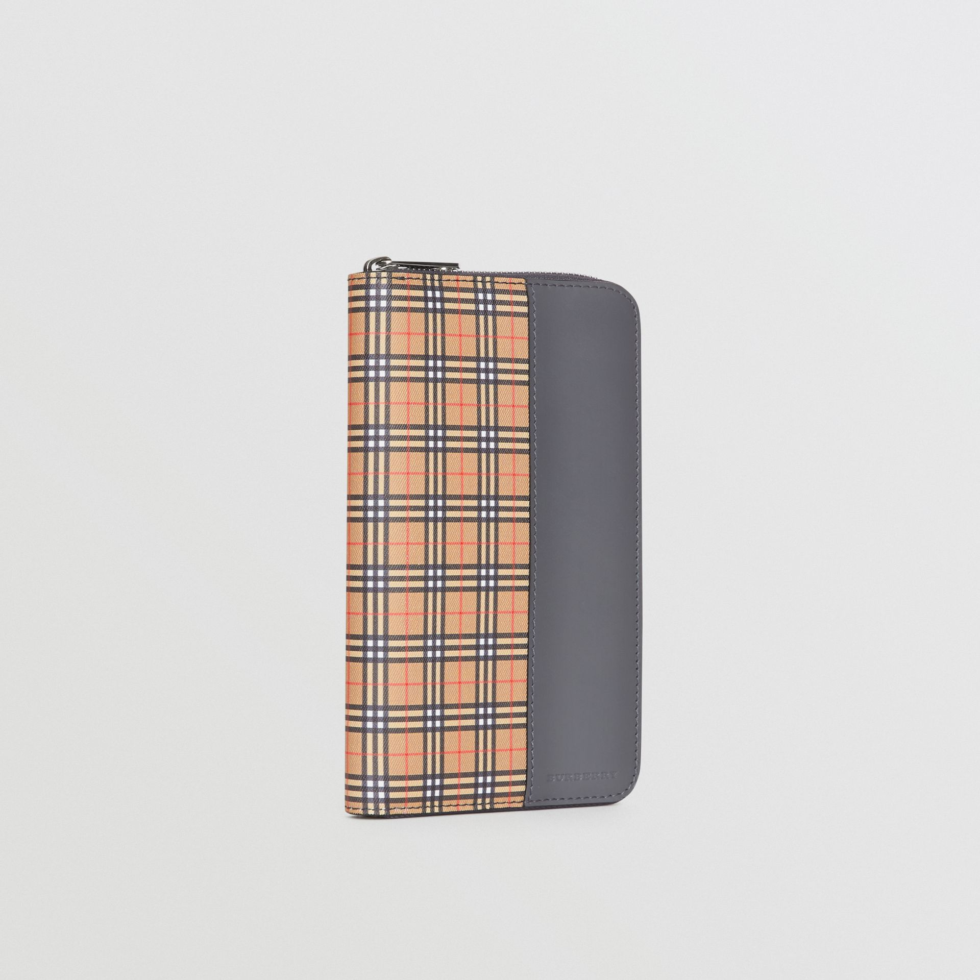 Small Scale Check and Leather Ziparound Wallet in Antique Yellow/dark Grey - Men | Burberry United Kingdom - gallery image 4
