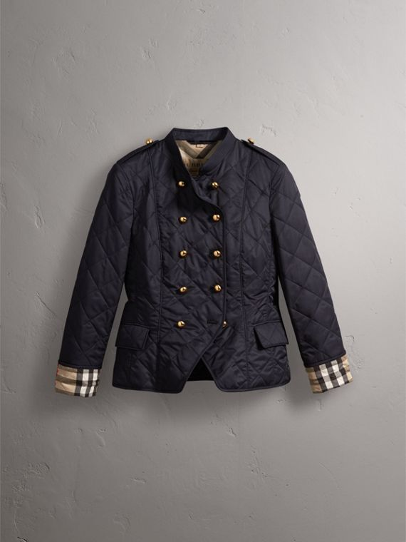 Double-breasted Quilted Military Jacket in Navy - Women | Burberry - cell image 3