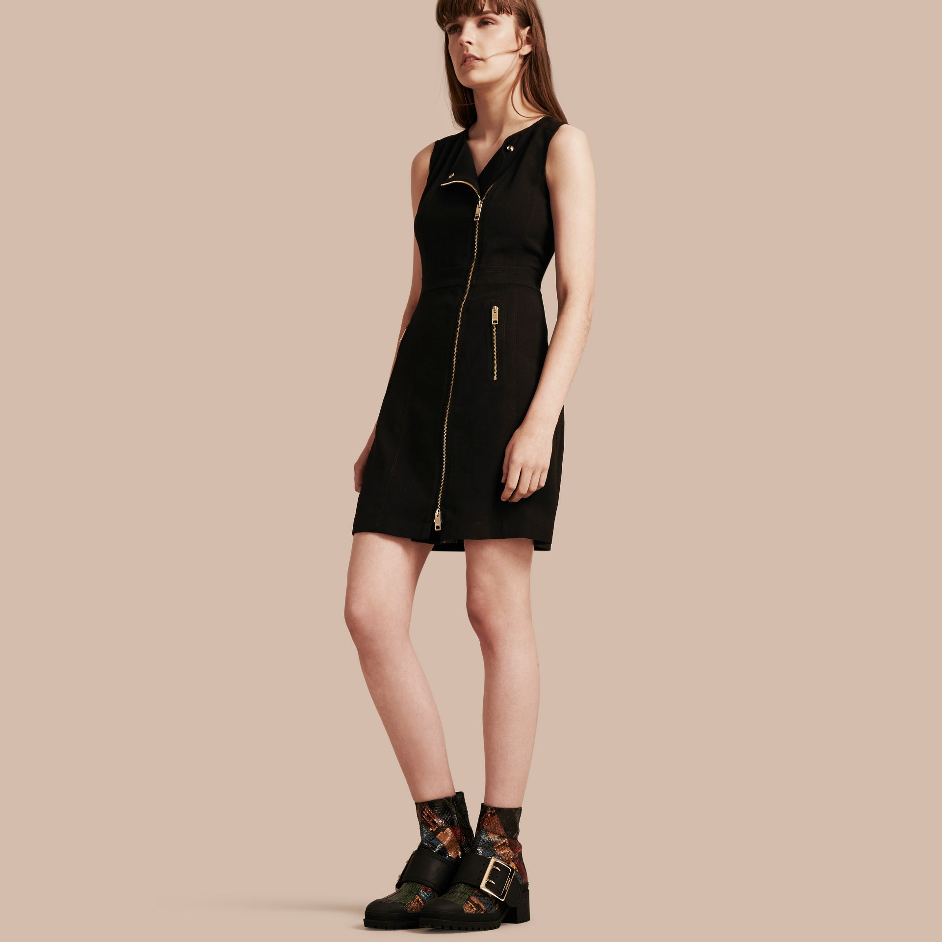 Black Zip Detail Sleeveless Wool Dress - gallery image 1