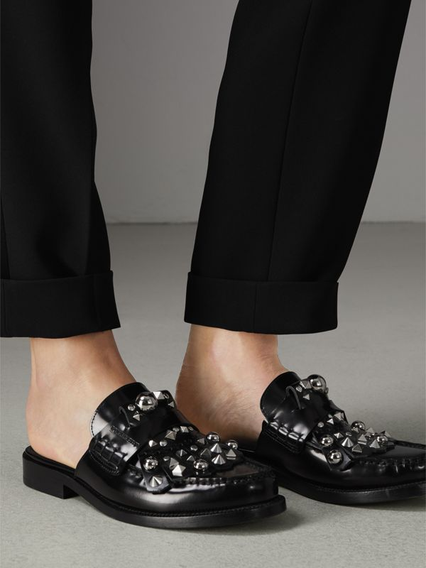 Studded Fringe Patent Leather Mules in Black - Women | Burberry Singapore - cell image 2