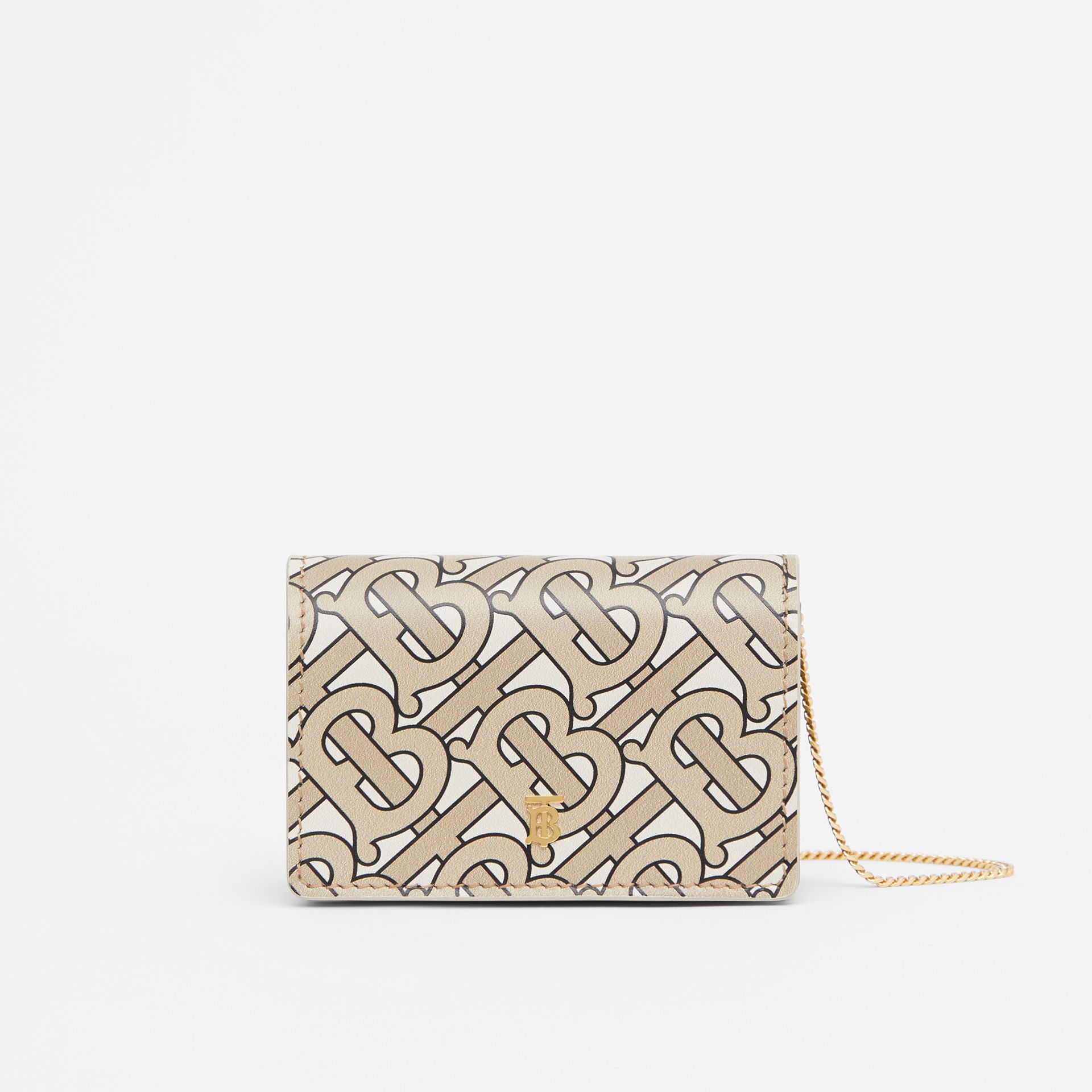 Monogram Print Card Case with Detachable Strap in Beige - Women | Burberry United States - gallery image 0