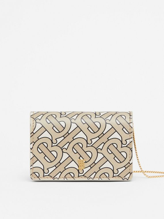 Monogram Print Card Case with Detachable Strap in Beige