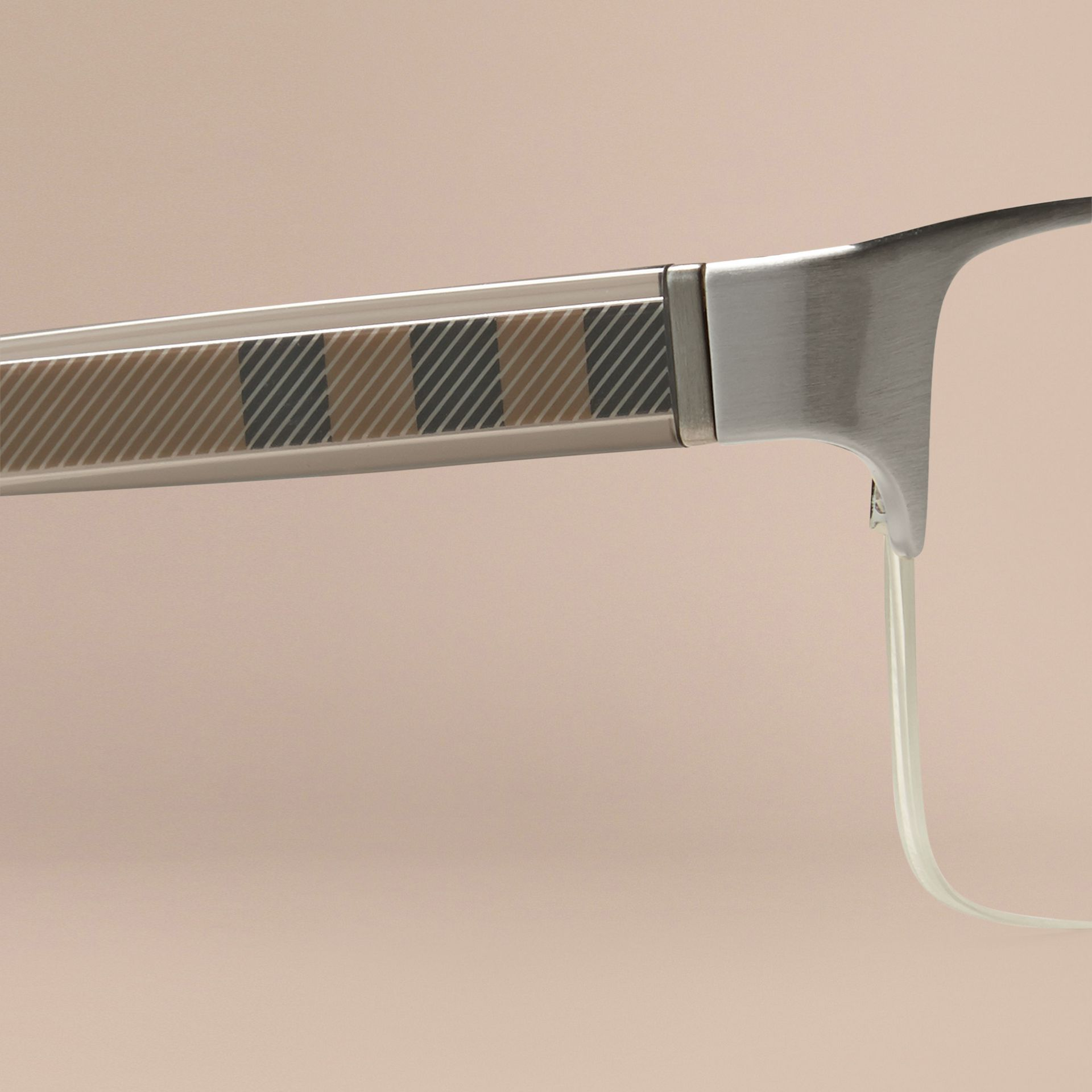 Brushed silver Check Detail Rectangular Optical Frames Brushed Silver - gallery image 2