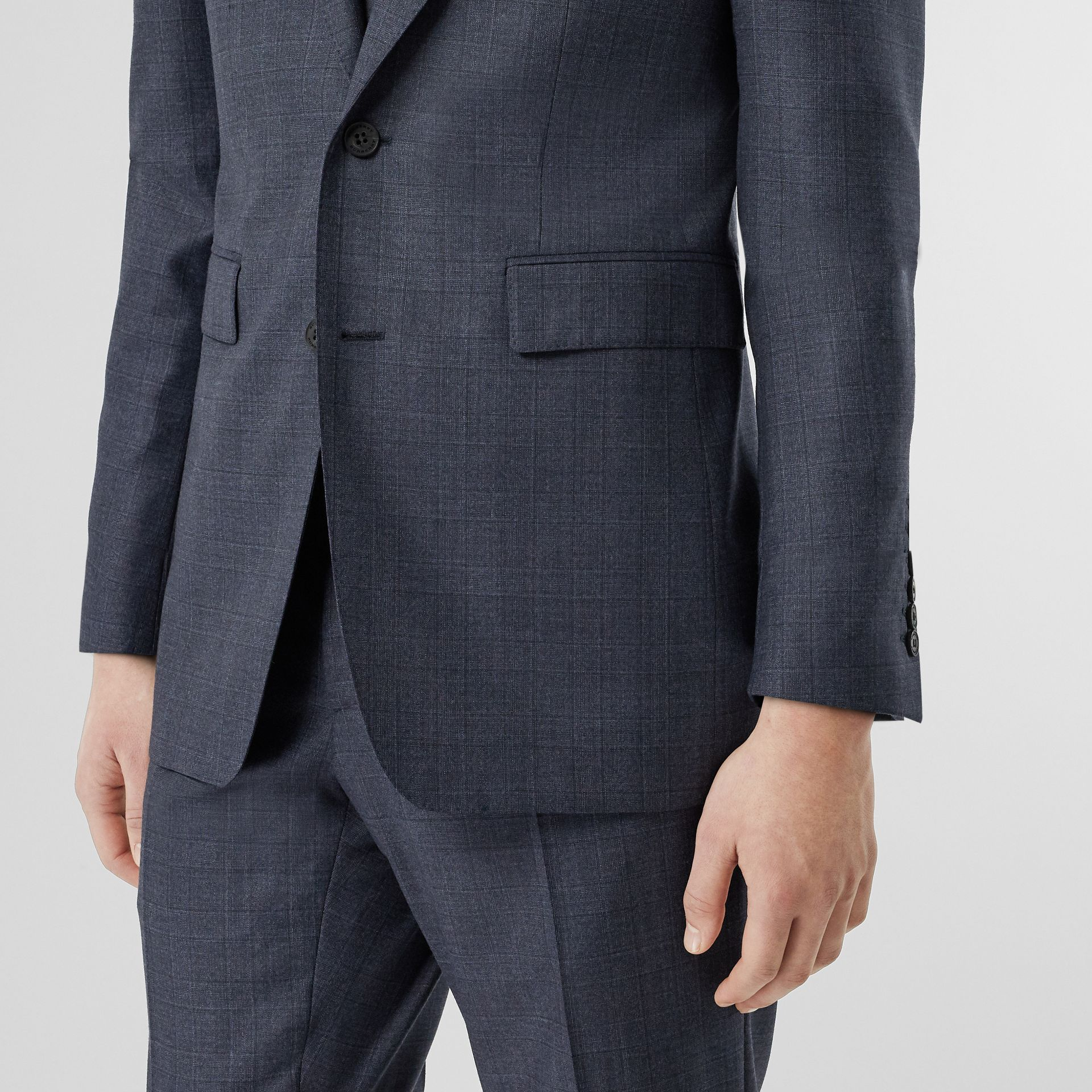 Classic Fit Check Wool Three-piece Suit in Steel Blue - Men | Burberry - gallery image 4