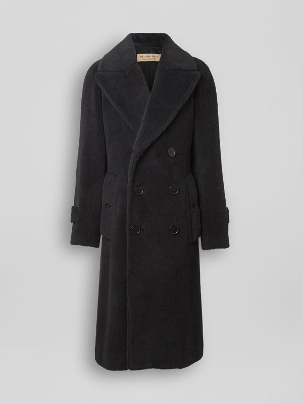 Alpaca Wool Cotton Double-breasted Coat in Charcoal - Men | Burberry - cell image 3
