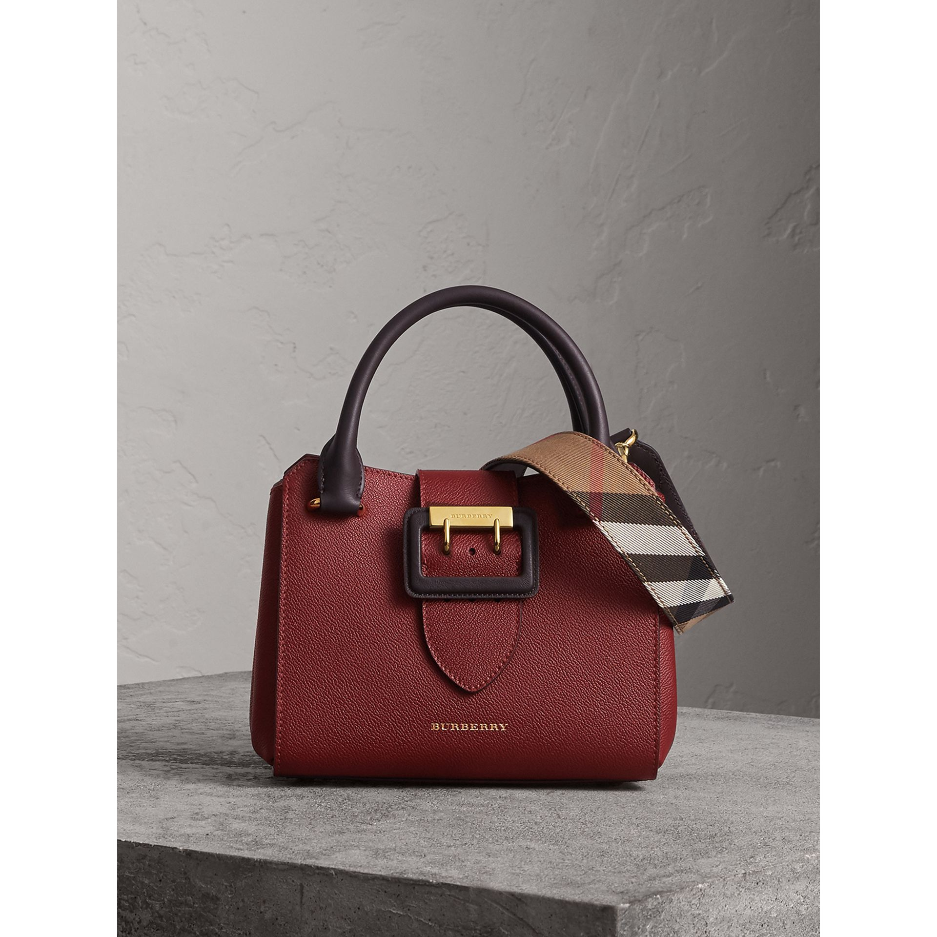 The Small Buckle Tote in Two-tone Leather in Burgundy - Women | Burberry - gallery image 1