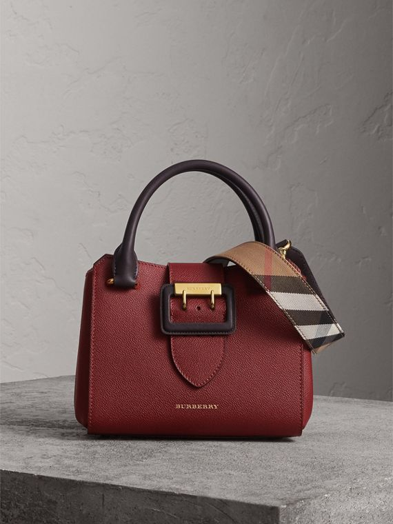 The Small Buckle Tote in Two-tone Leather in Burgundy
