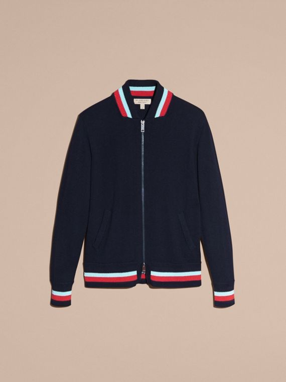 Navy Knitted Cashmere Bomber Jacket - cell image 3