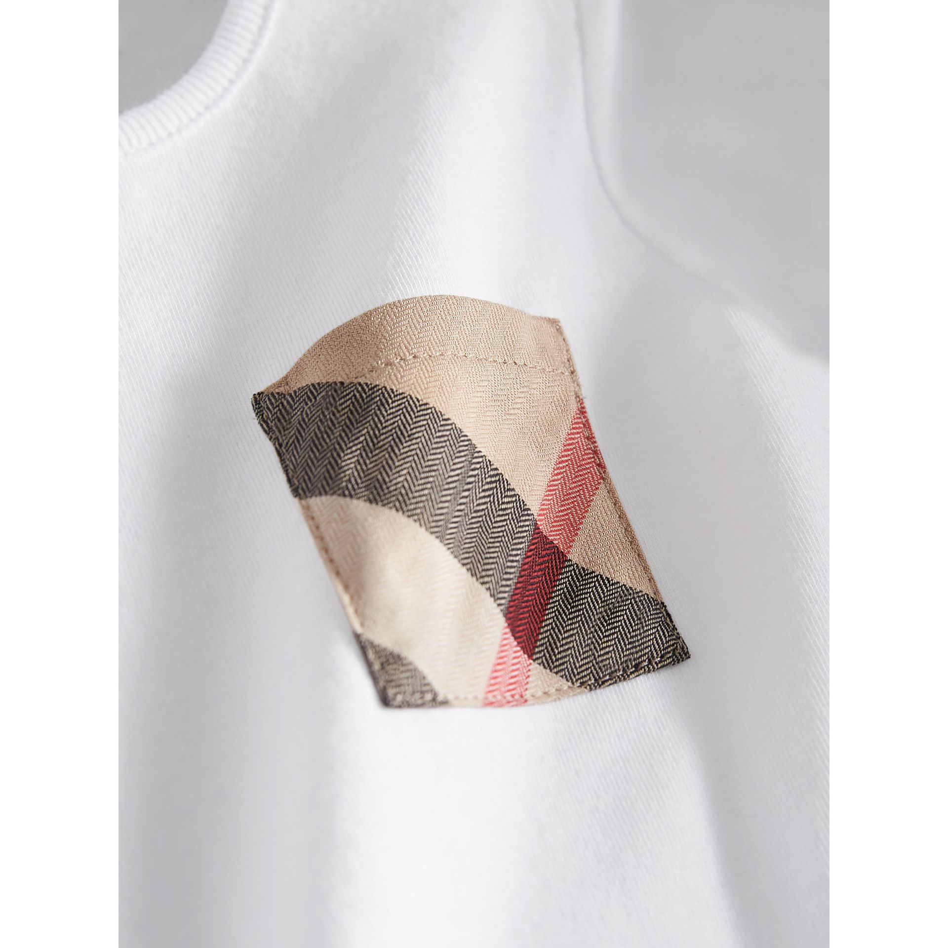 Check Pocket Cotton T-shirt in White | Burberry - gallery image 2