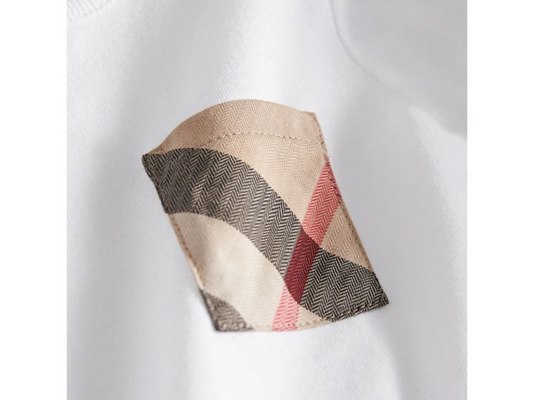 Check Pocket Cotton T-shirt in White | Burberry Australia - cell image 1