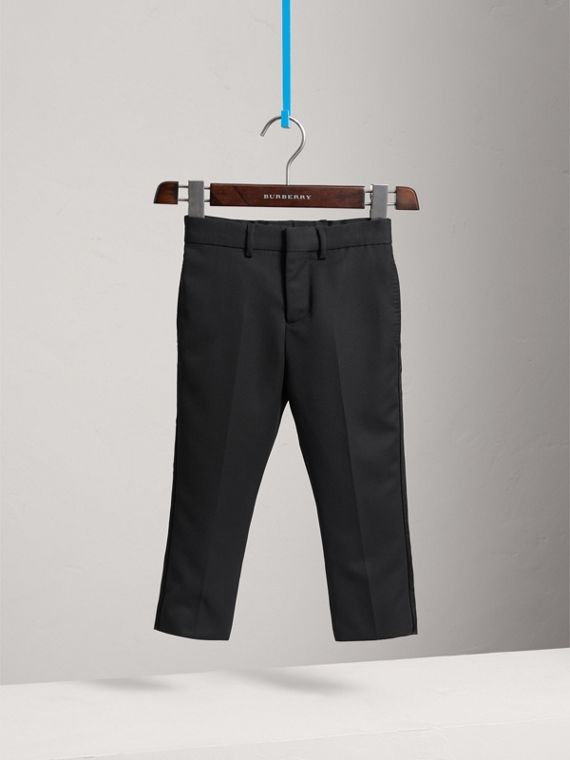 Tailored Wool Tuxedo Trousers in Black - Boy | Burberry - cell image 2
