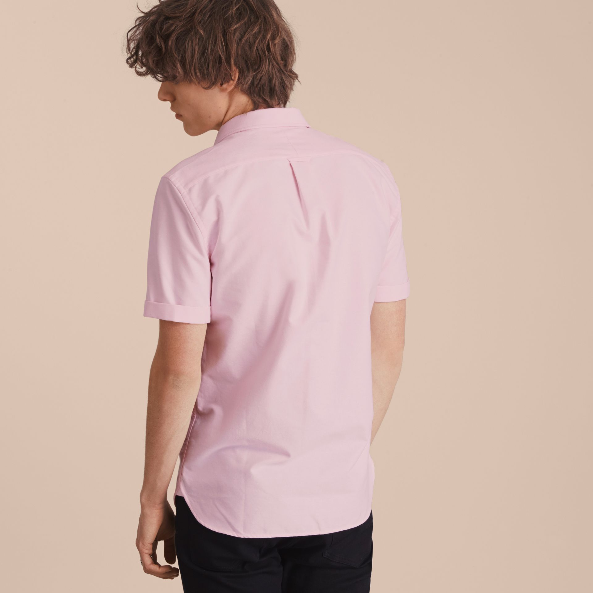Check Detail Short-Sleeved Cotton Oxford Shirt in Pale Pink - gallery image 3