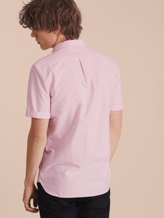 Check Detail Short-Sleeved Cotton Oxford Shirt in Pale Pink - cell image 2
