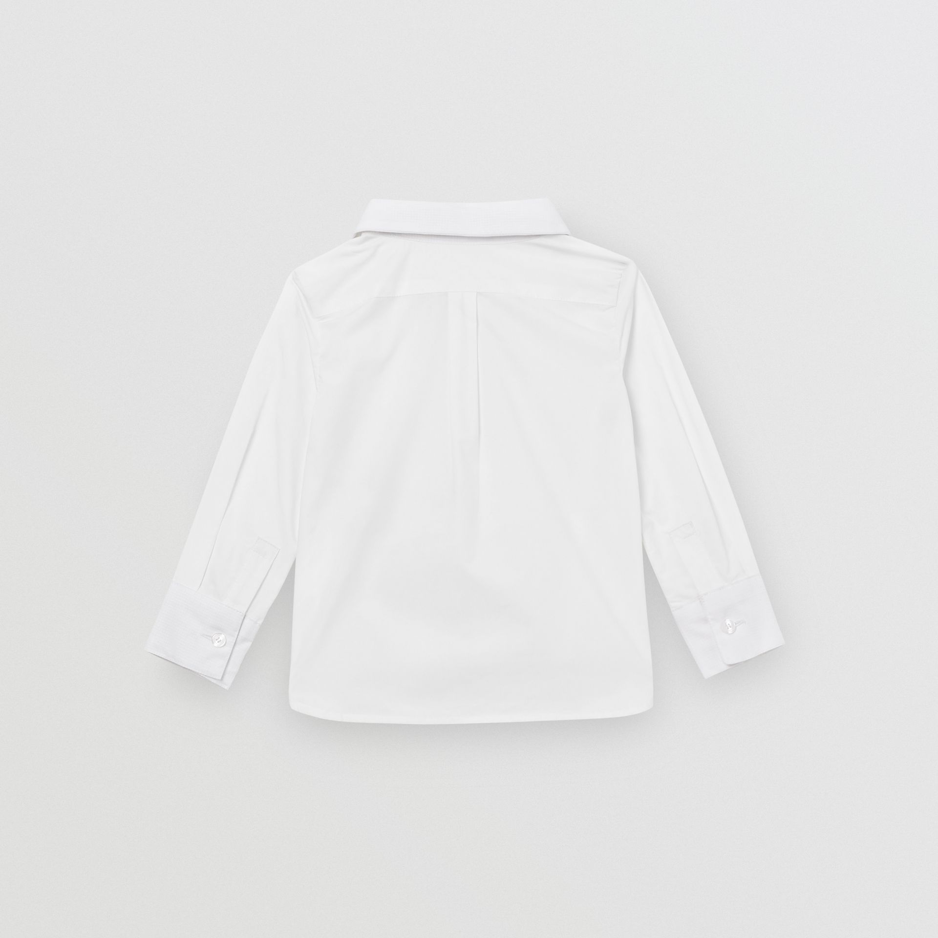 Pintuck Panel Stretch Cotton Poplin Shirt in White - Children | Burberry - gallery image 3