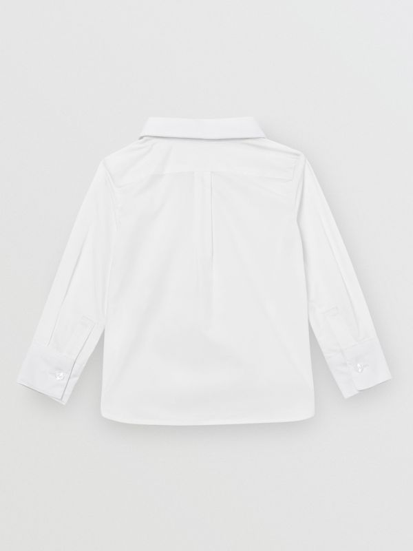 Pintuck Panel Stretch Cotton Poplin Shirt in White - Children | Burberry - cell image 3