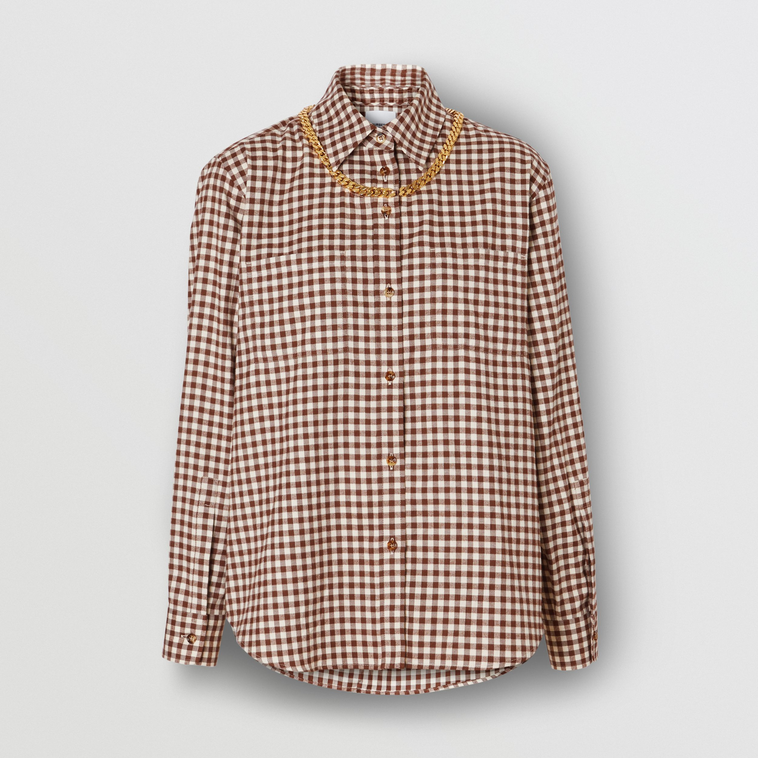 Chain Detail Gingham Cotton Flannel Oversized Shirt in Brown - Women | Burberry - 4