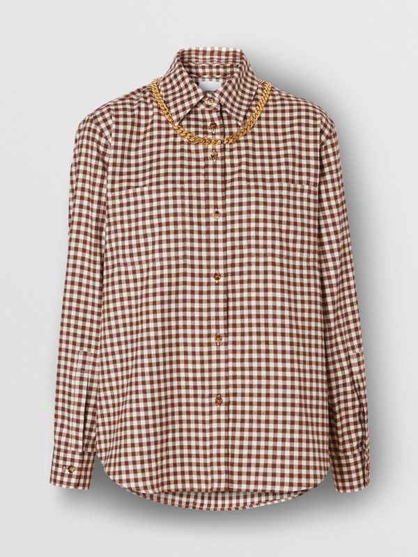 Chain Detail Gingham Cotton Flannel Oversized Shirt in Brown - Women | Burberry - cell image 3