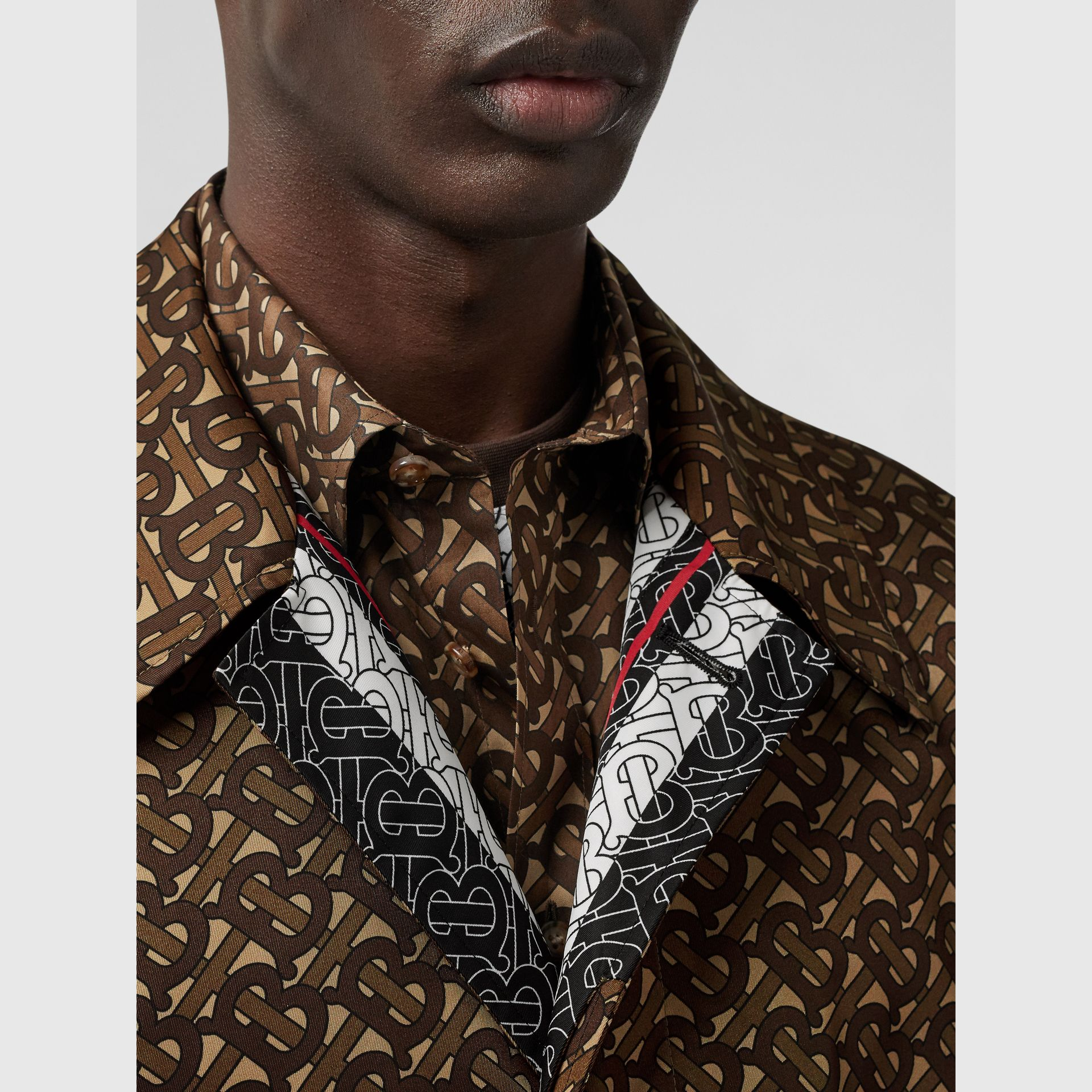 Monogram Stripe Print Nylon Car Coat in Bridle Brown - Men | Burberry United Kingdom - gallery image 5
