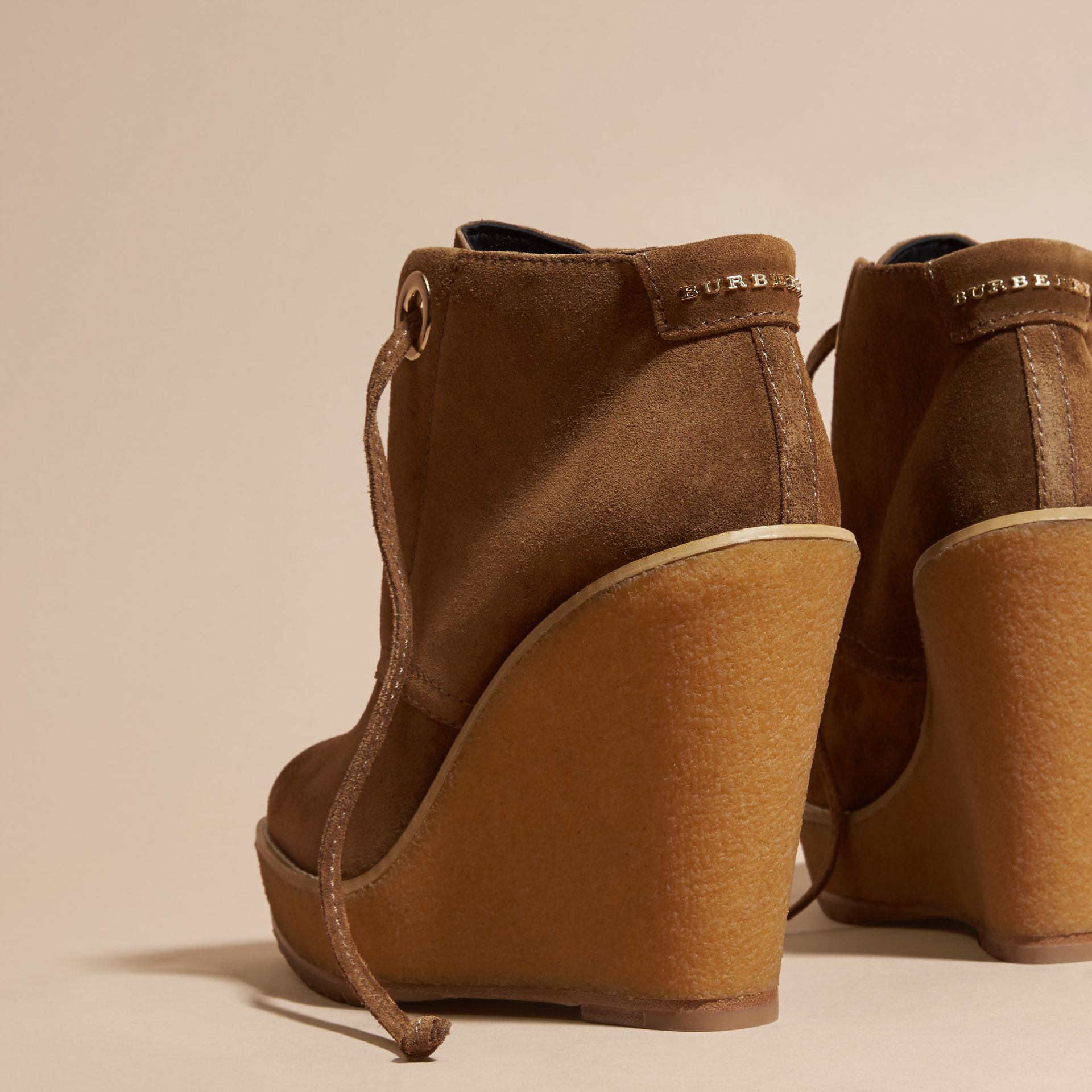 Light oak brown Suede Wedge Ankle Boots - gallery image 4