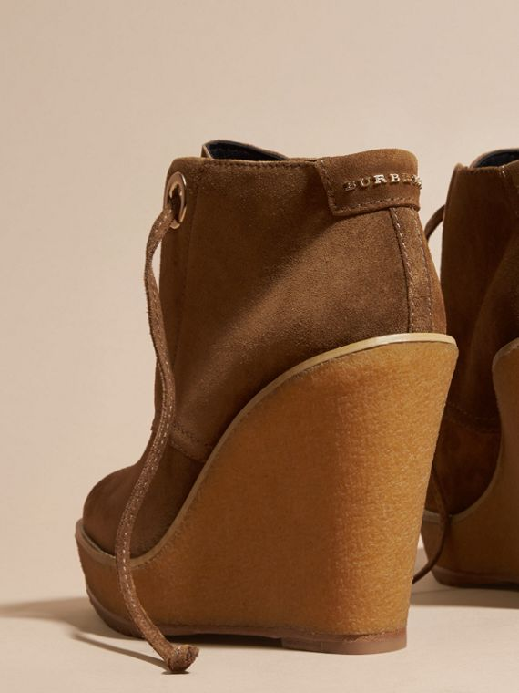 Light oak brown Suede Wedge Ankle Boots - cell image 3