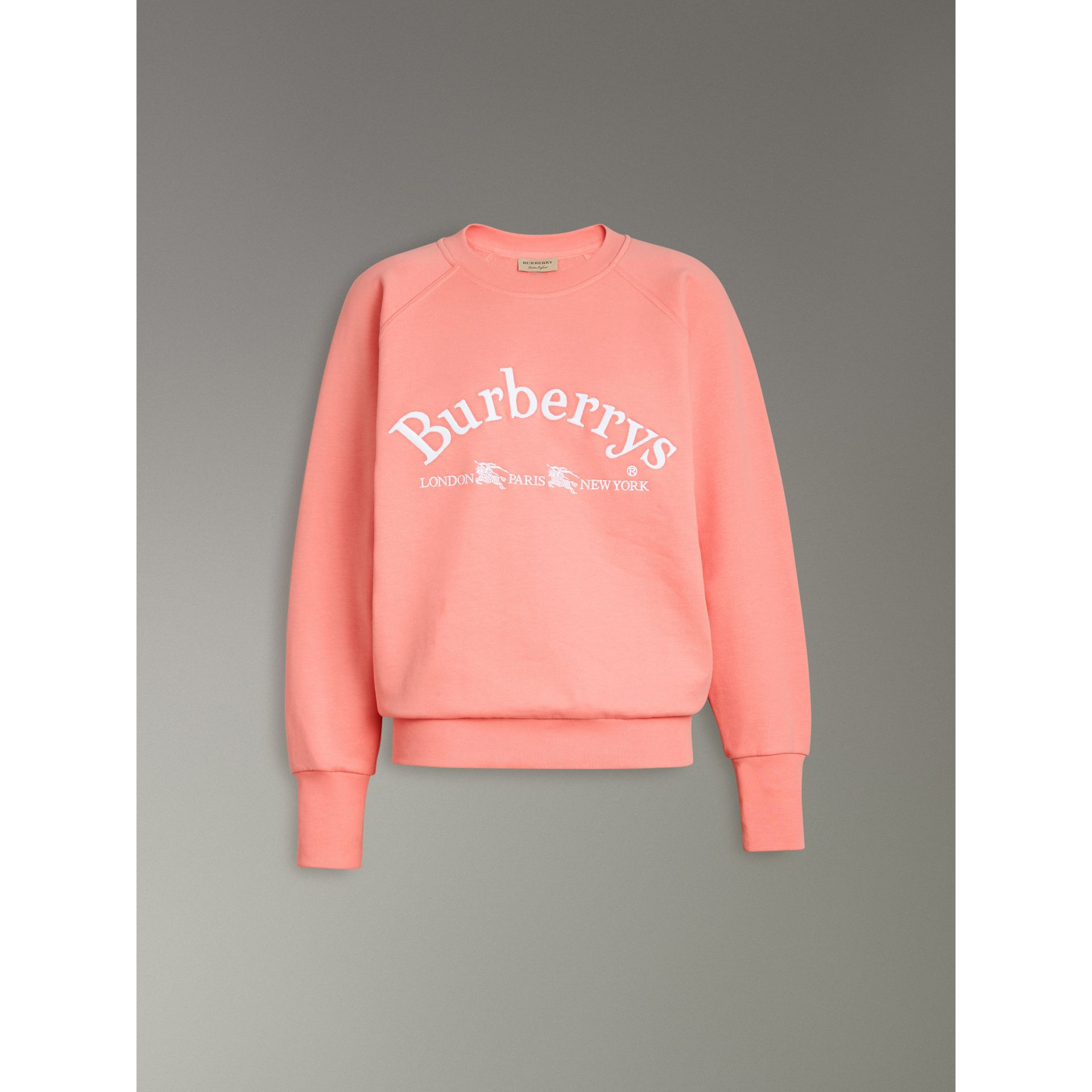 Embroidered Archive Logo Jersey Sweatshirt in Pale Apricot - Women | Burberry Australia - gallery image 3
