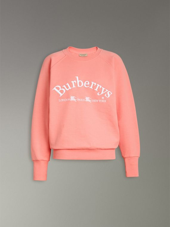 Embroidered Archive Logo Jersey Sweatshirt in Pale Apricot - Women | Burberry Singapore - cell image 3