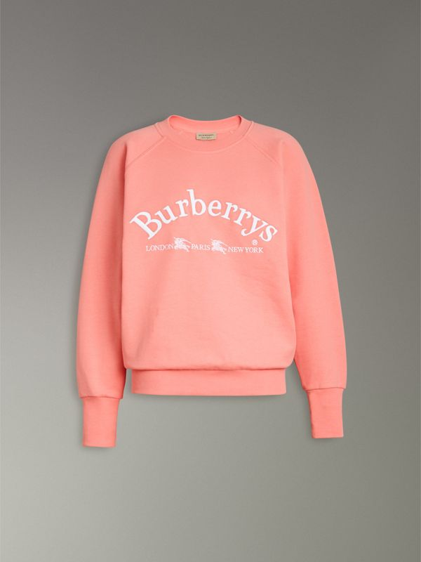 Embroidered Archive Logo Jersey Sweatshirt in Pale Apricot - Women | Burberry Australia - cell image 3