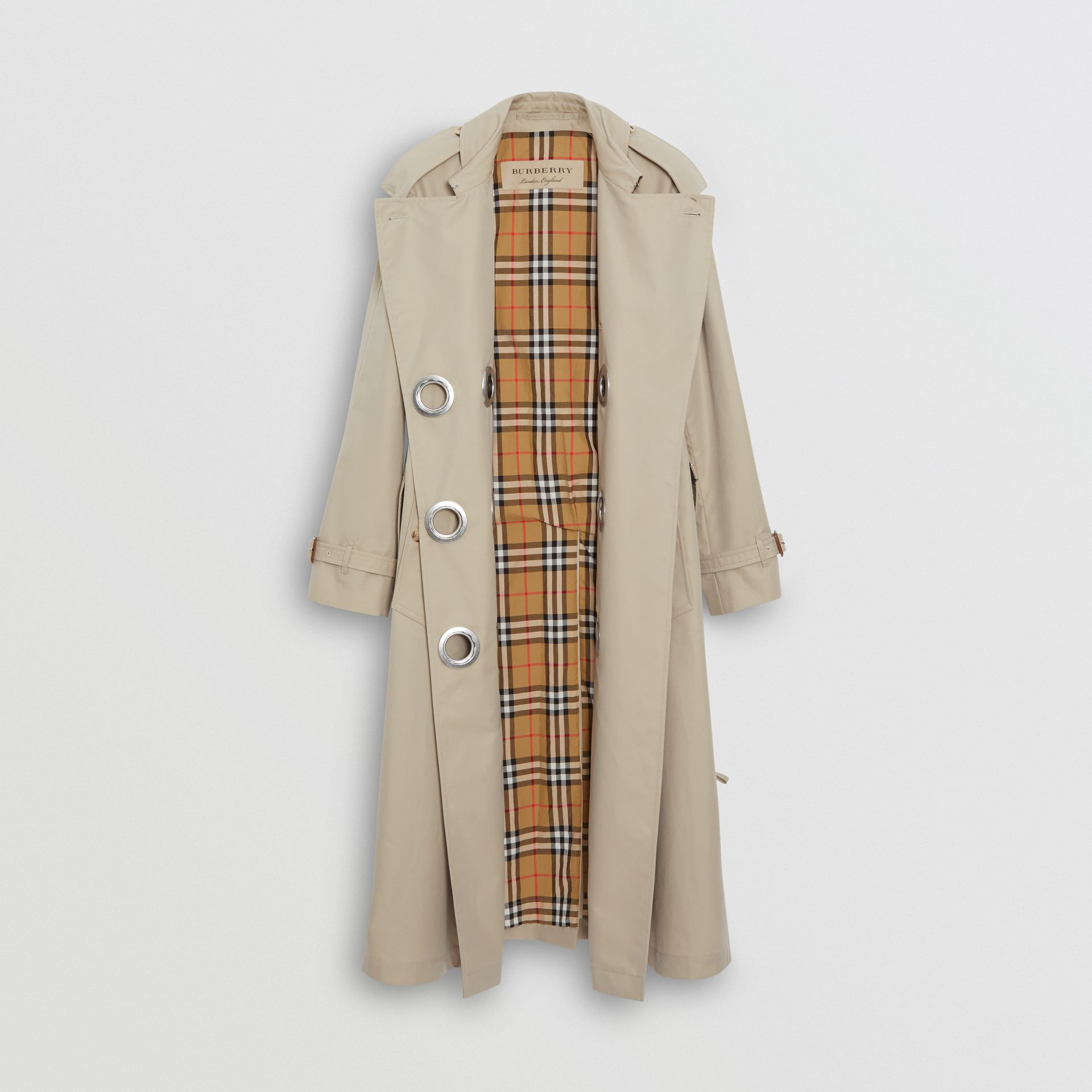Grommet Detail Cotton Gabardine Trench Coat in Stone - Women | Burberry - gallery image 8
