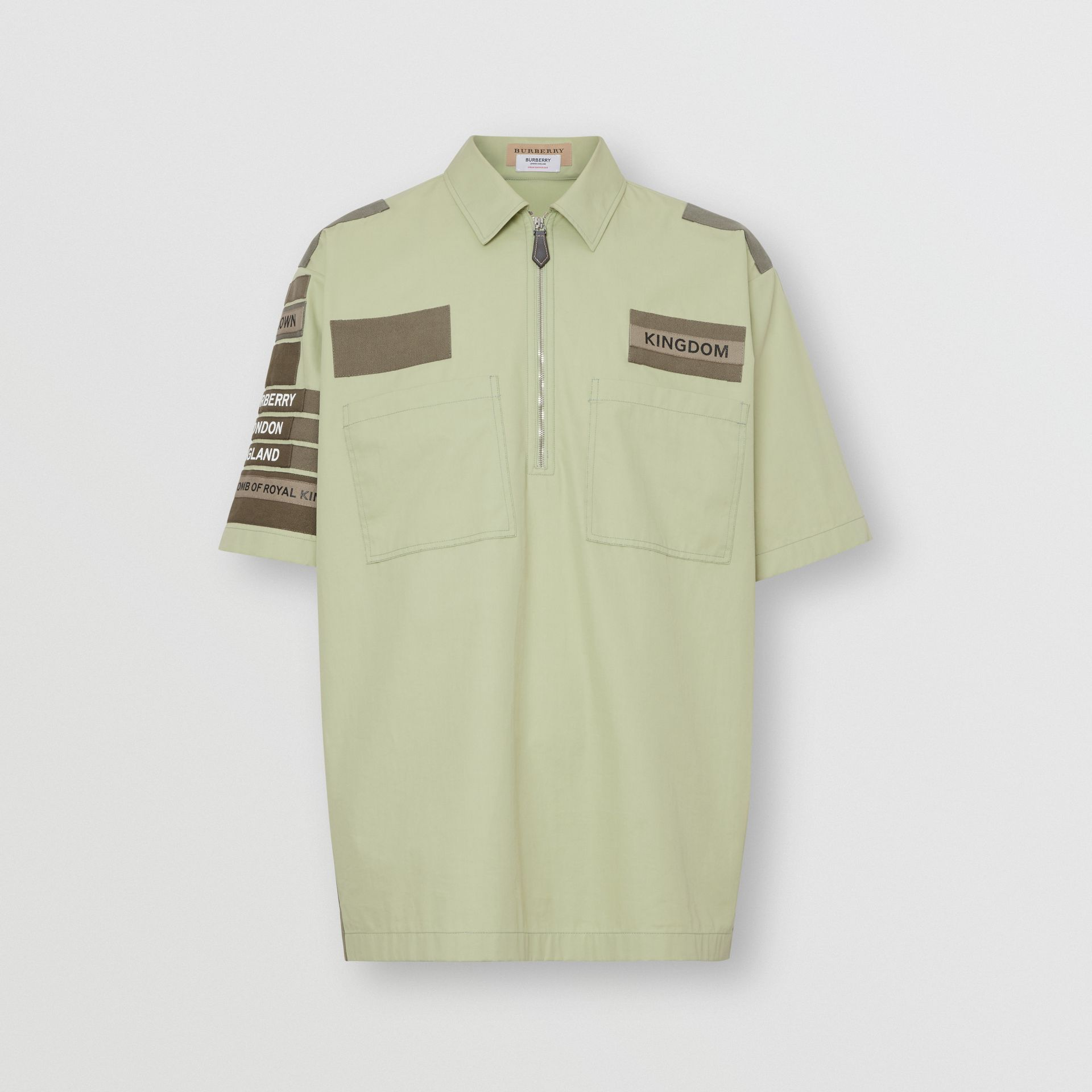 Short-sleeve Montage Print Military Cotton Shirt in Matcha | Burberry - gallery image 3