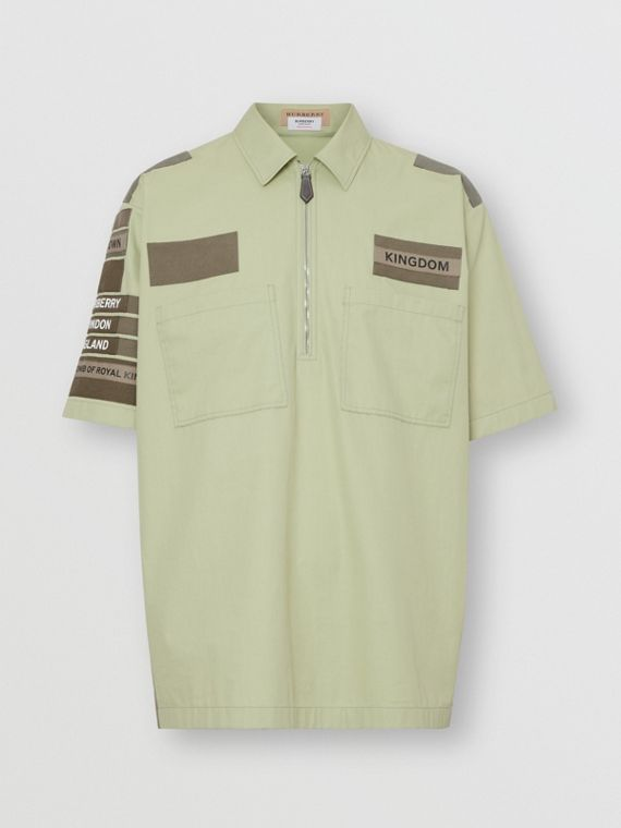 Short-sleeve Montage Print Military Cotton Shirt in Matcha