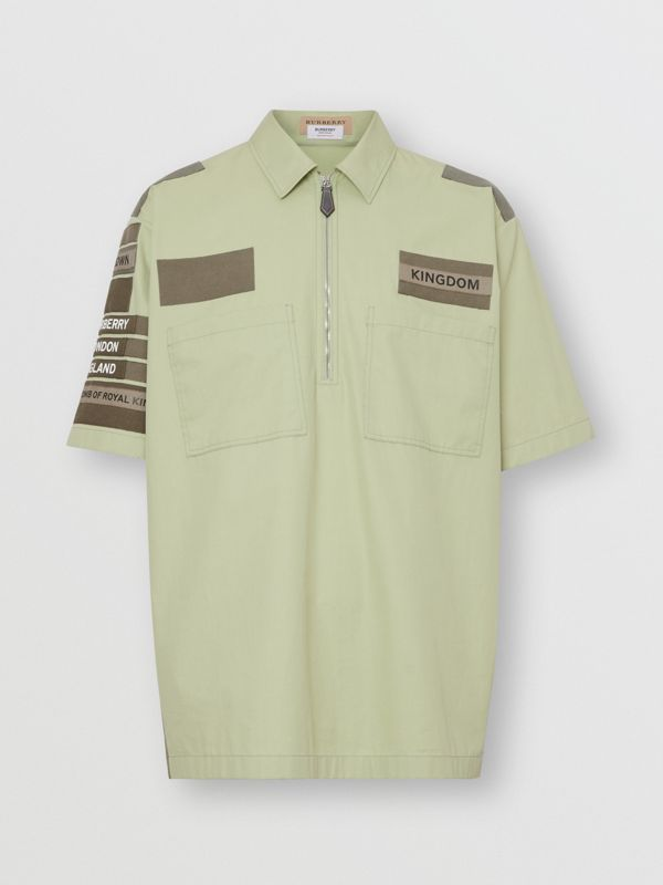 Short-sleeve Montage Print Military Cotton Shirt in Matcha | Burberry United Kingdom - cell image 3