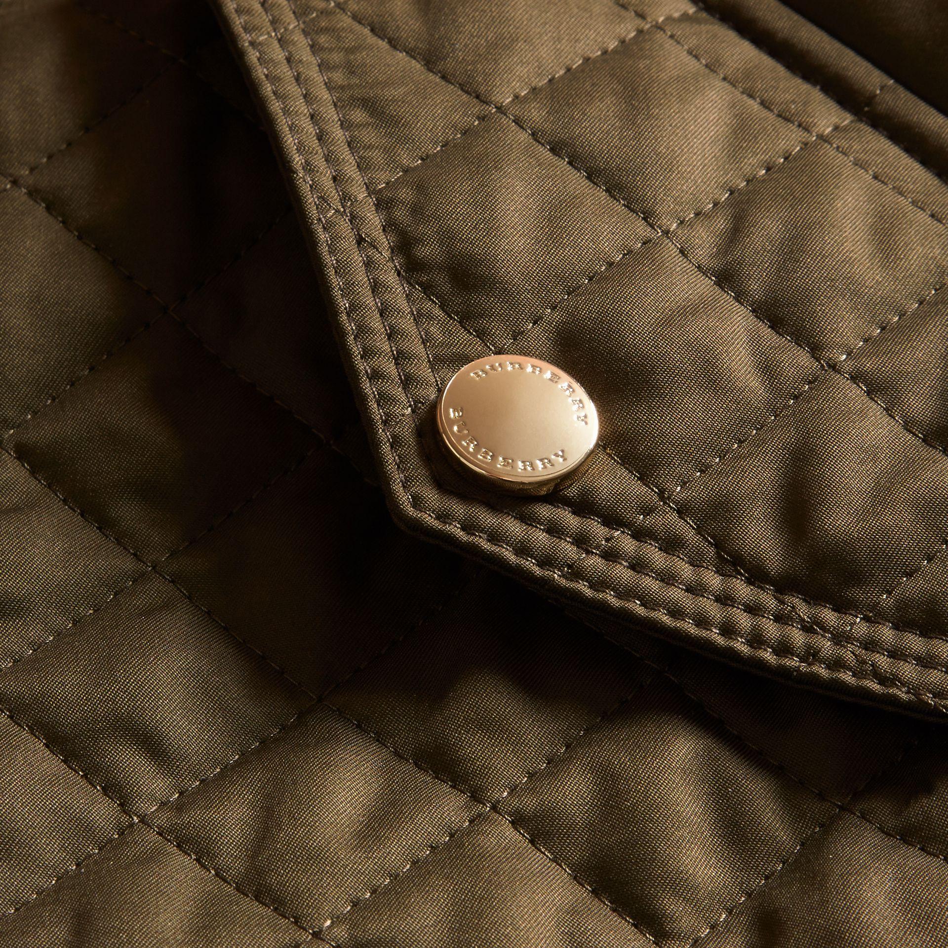Diamond Quilted Hooded Jacket with Check Lining Dark Olive - gallery image 2
