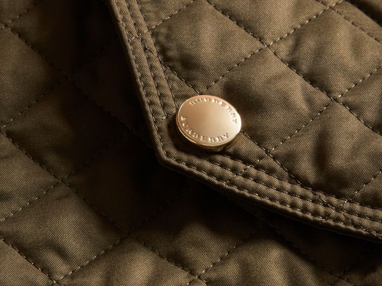 Diamond Quilted Hooded Jacket with Check Lining Dark Olive - cell image 1