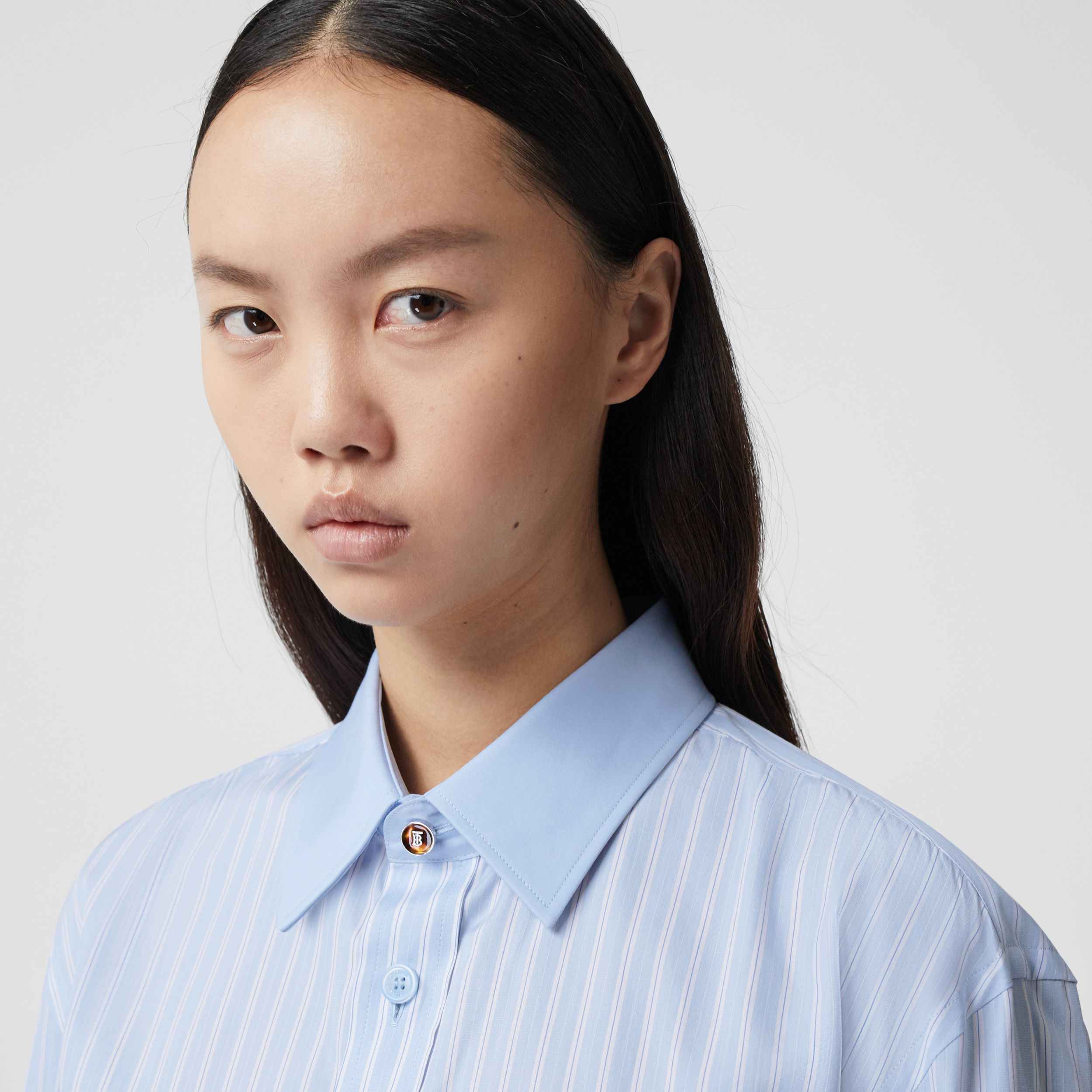 Striped Cotton Oversized Shirt in Pale Blue - Women | Burberry United Kingdom - 2