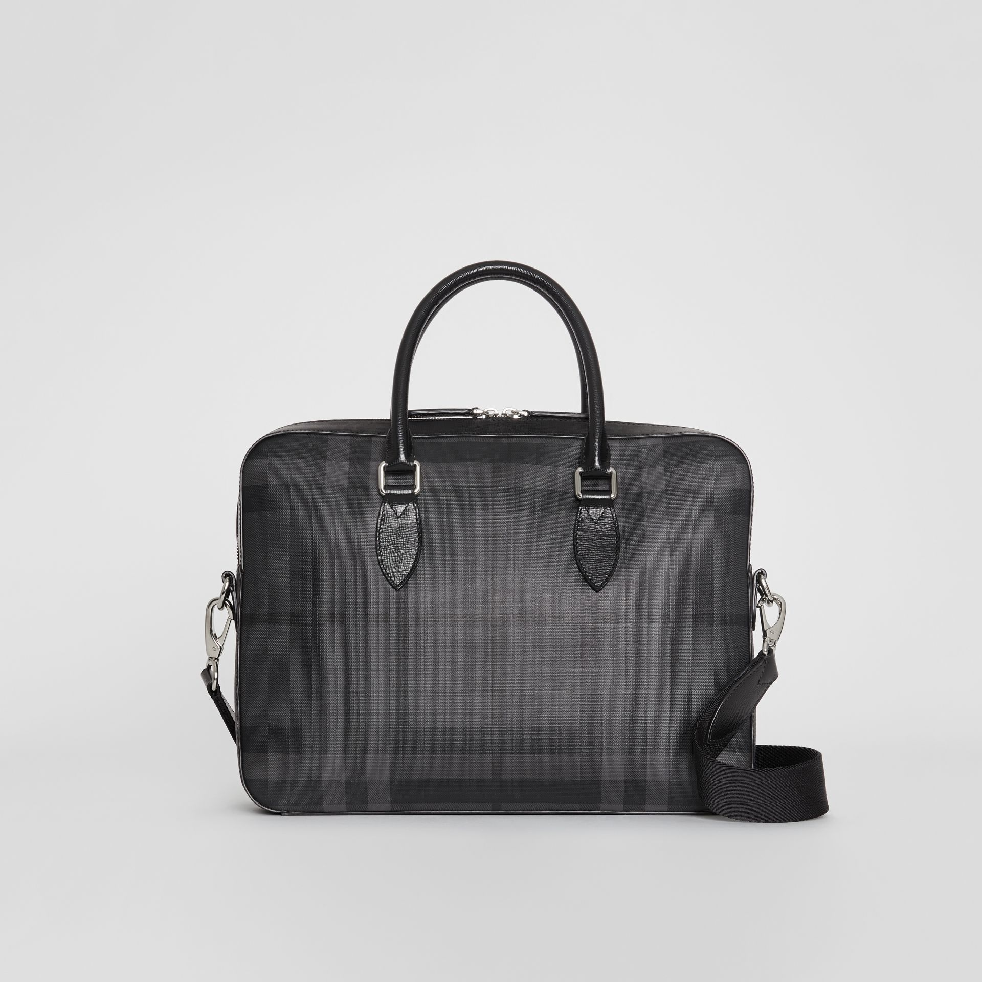 Sac The Barrow fin avec motif London check (Anthracite/noir) - Homme | Burberry Canada - photo de la galerie 0
