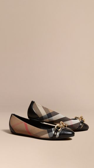Chain Detail House Check Ballerinas