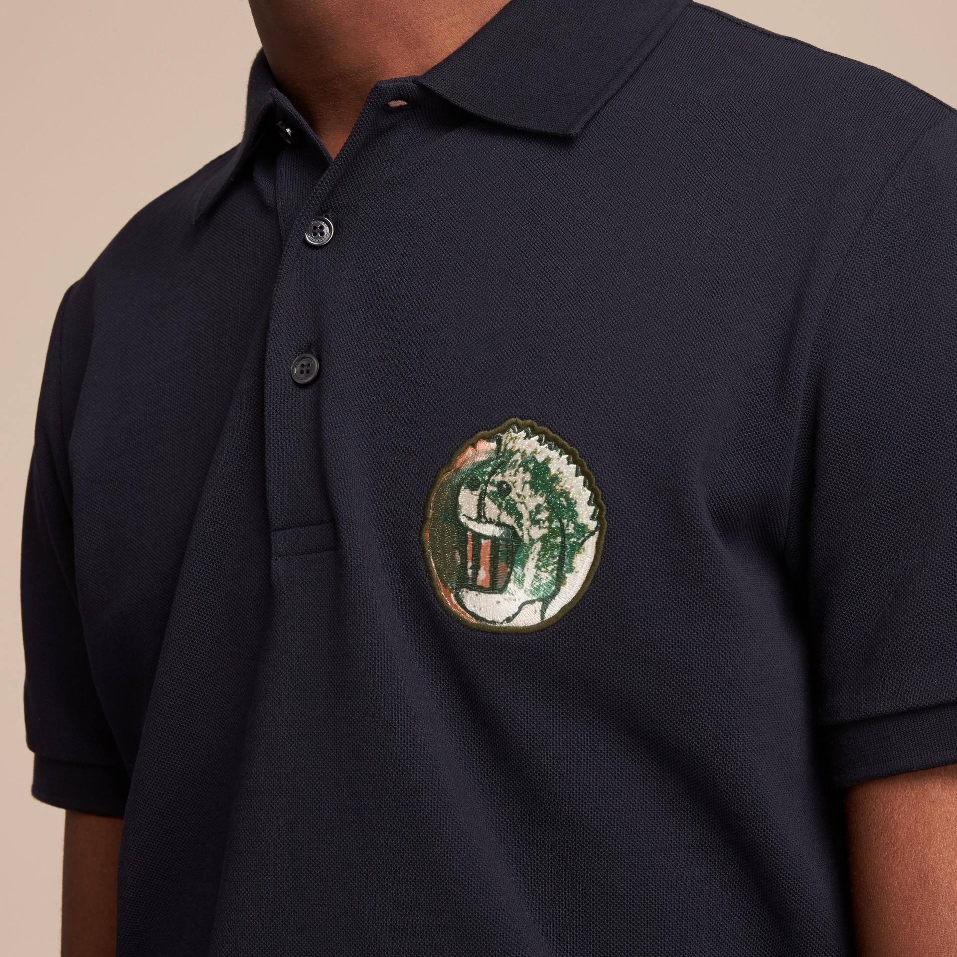 Pallas Heads Appliqué Cotton Polo Shirt in Dark Navy - gallery image 5