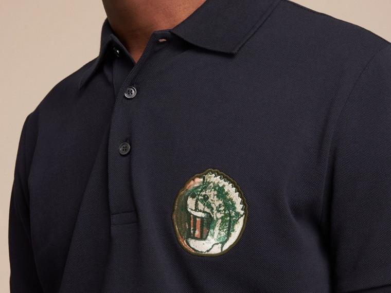 Pallas Heads Appliqué Cotton Polo Shirt in Dark Navy - cell image 4