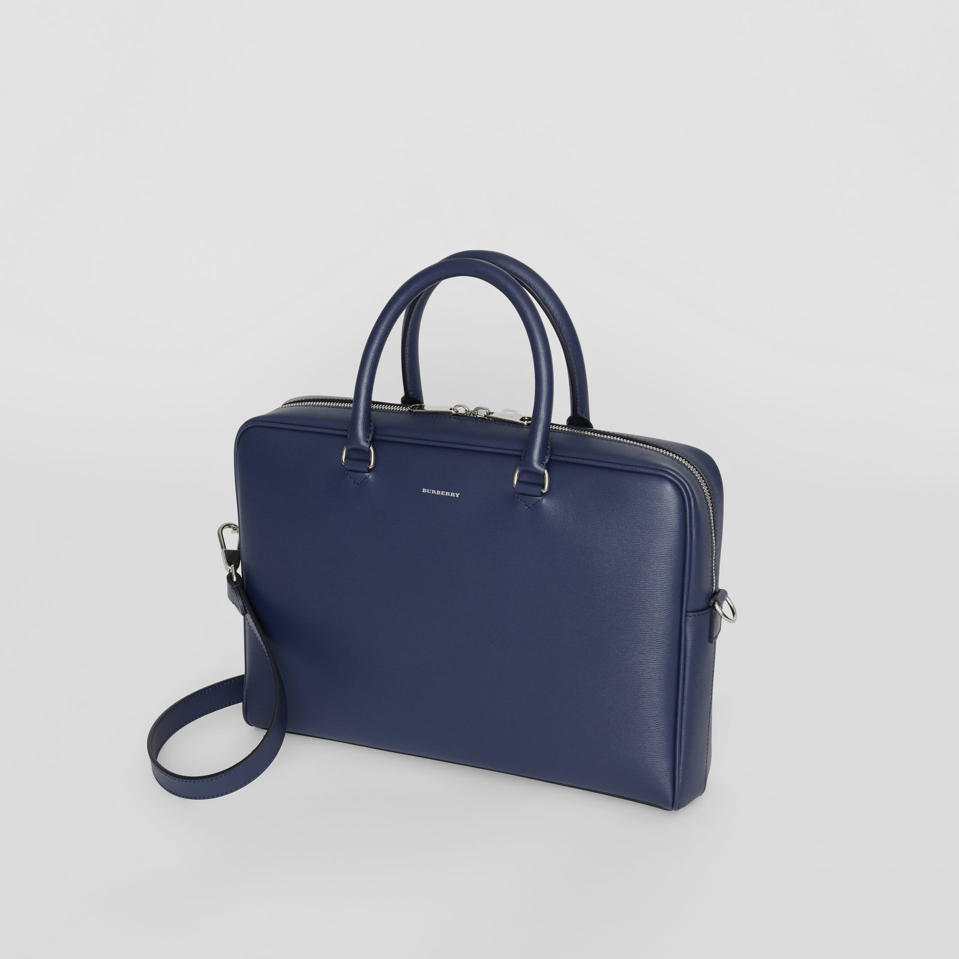 London Leather Briefcase in Navy - Men | Burberry - gallery image 4