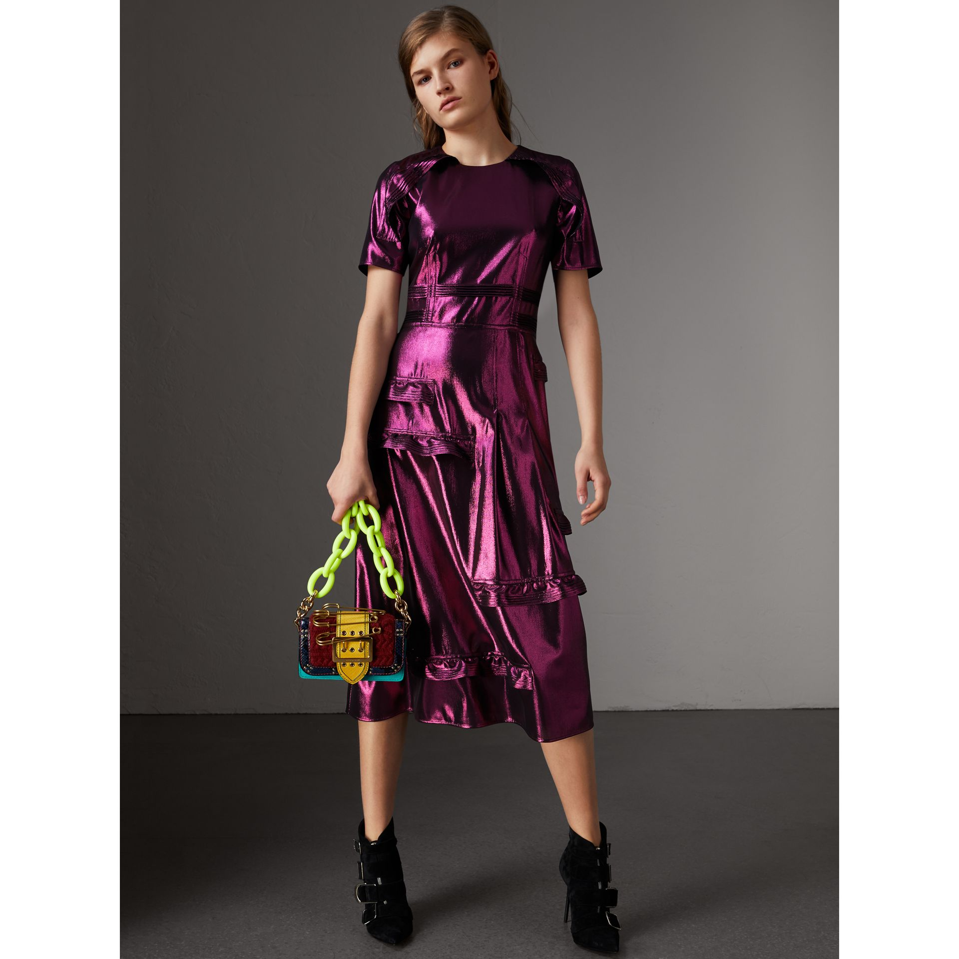 Short-sleeve Ruffle Detail Lamé Dress – Online Exclusive in Bright Fuchsia - Women | Burberry United States - gallery image 0