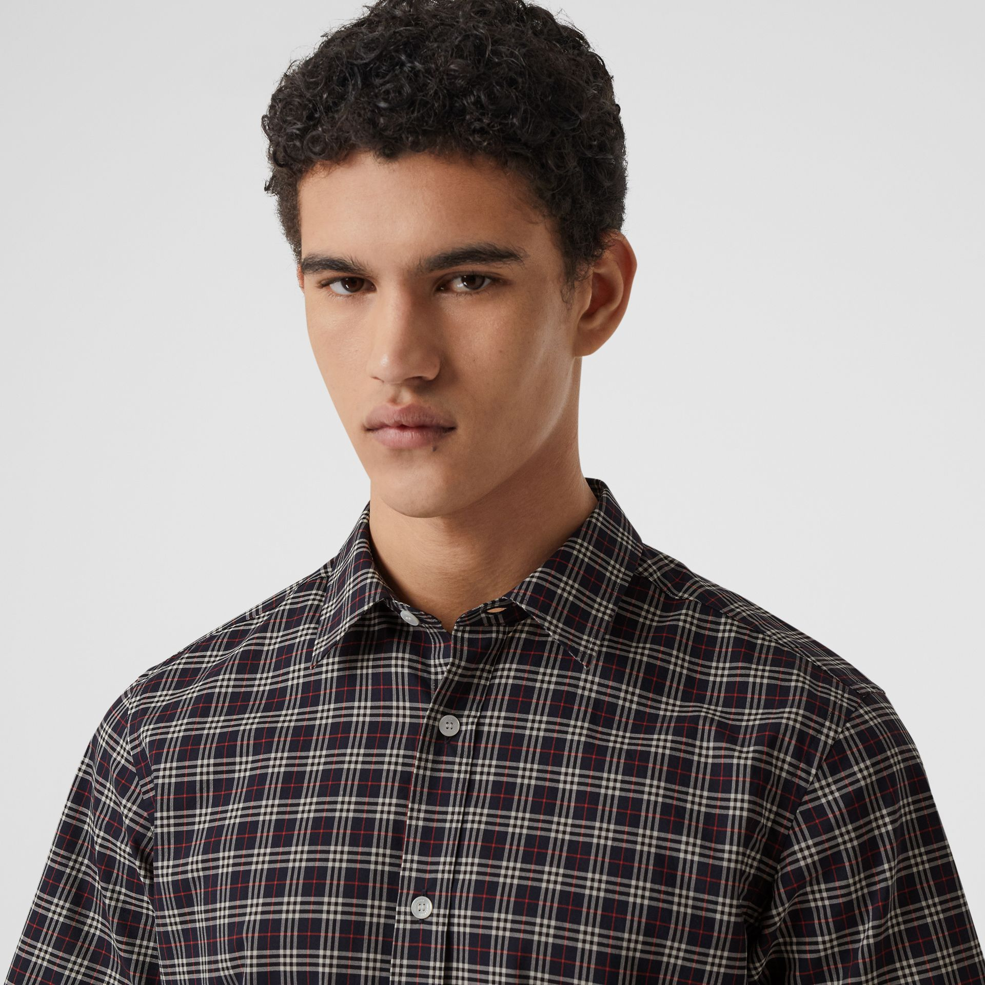 Short-sleeve Check Cotton Shirt in Navy - Men | Burberry - gallery image 1