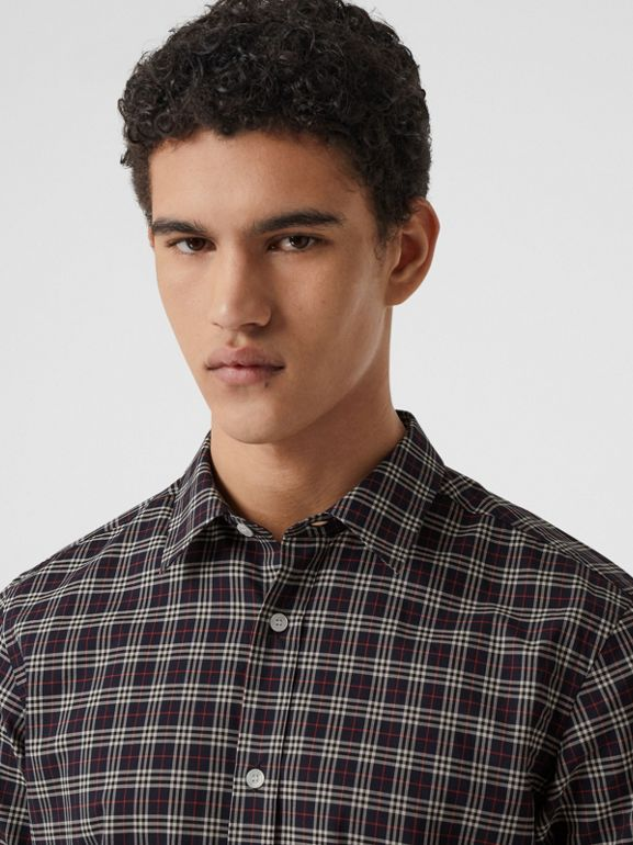 Short-sleeve Check Cotton Shirt in Navy - Men | Burberry - cell image 1