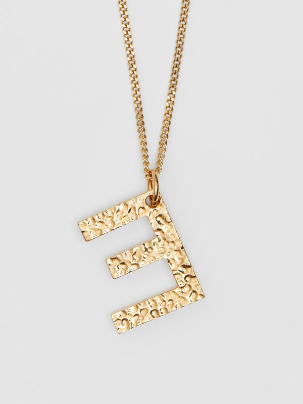 'E' Alphabet Charm Gold-plated Necklace in Light - Women | Burberry United Kingdom - cell image 2