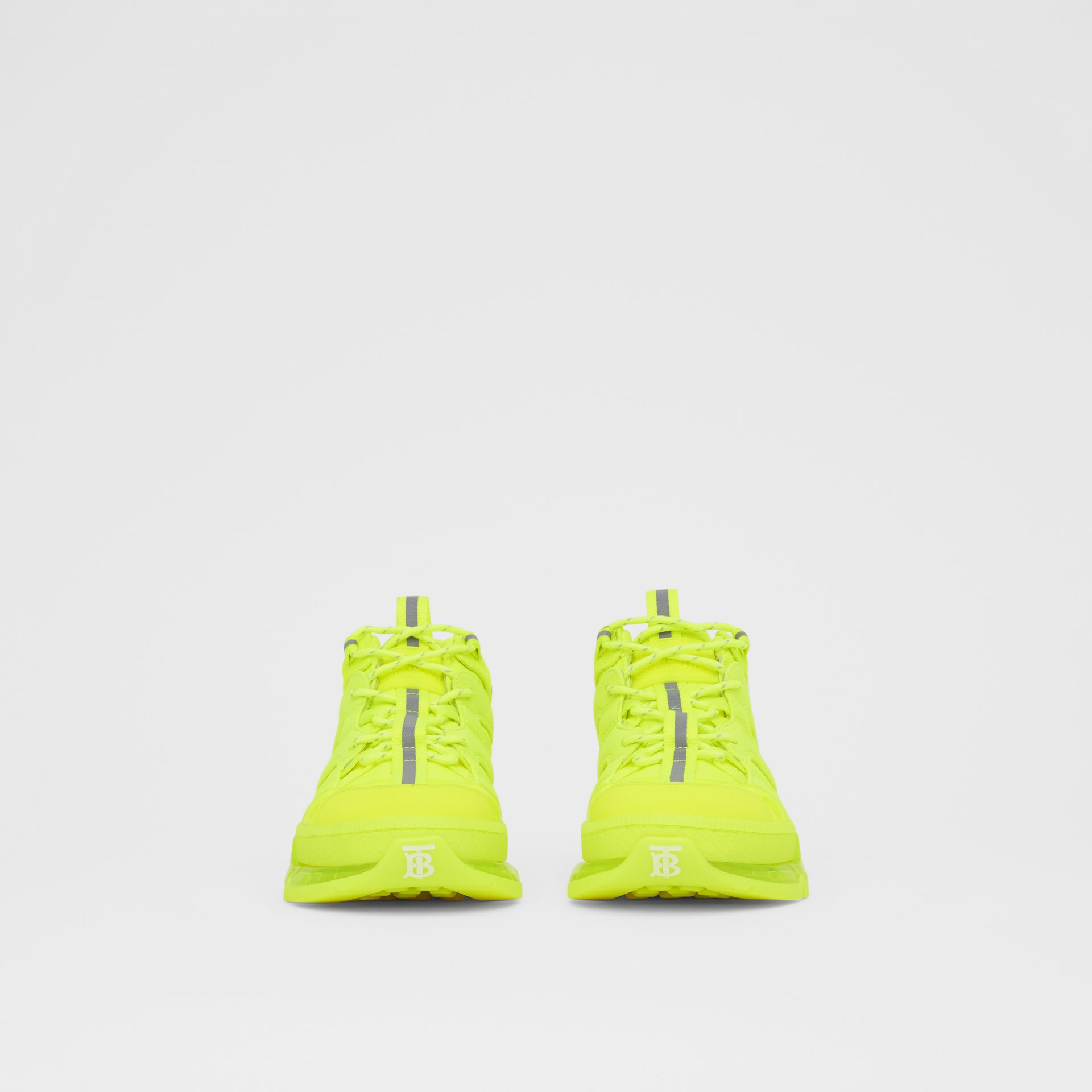 Nylon and Cotton Union Sneakers in Fluorescent Yellow - Women | Burberry United Kingdom - gallery image 3