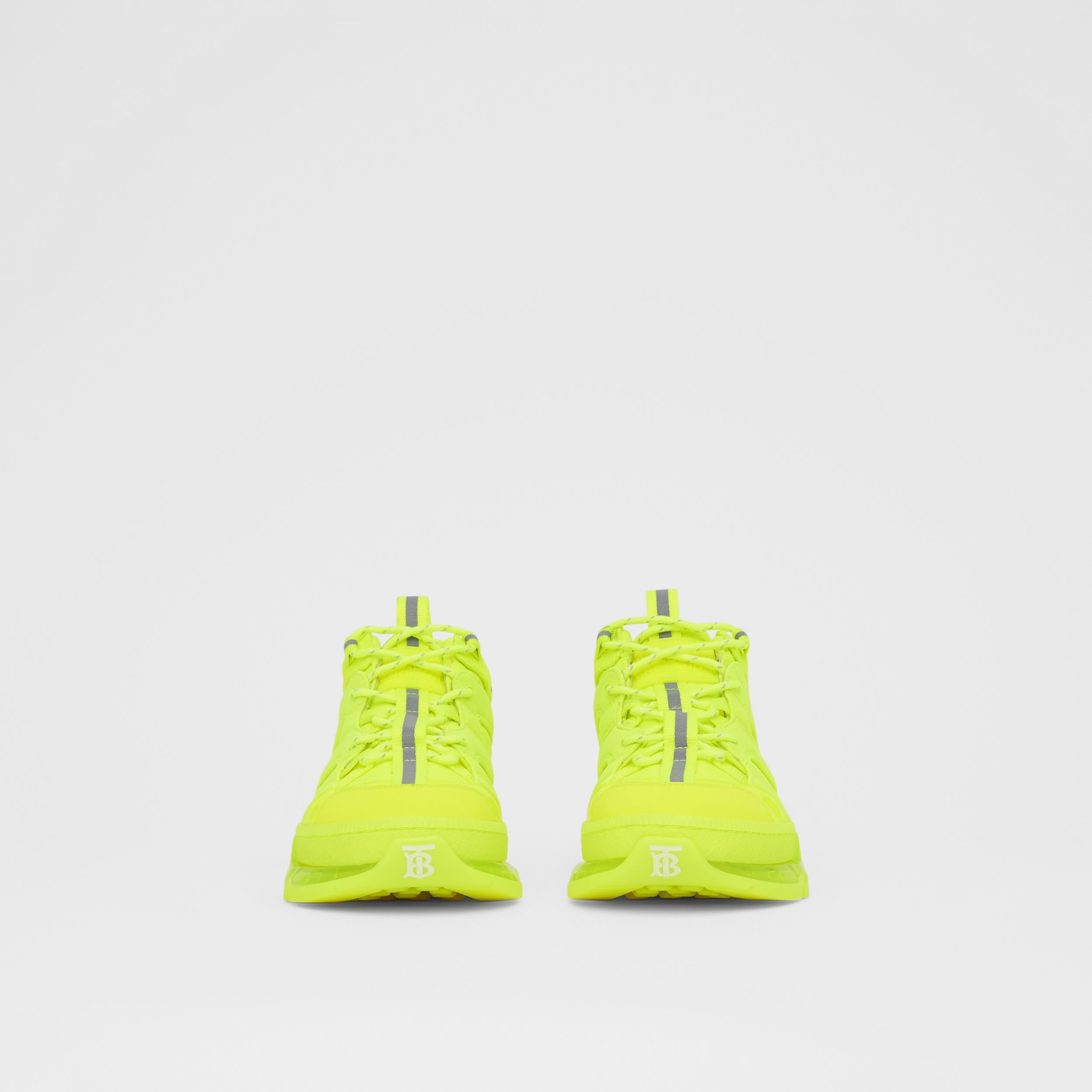 Nylon and Cotton Union Sneakers in Fluorescent Yellow - Women | Burberry - 4