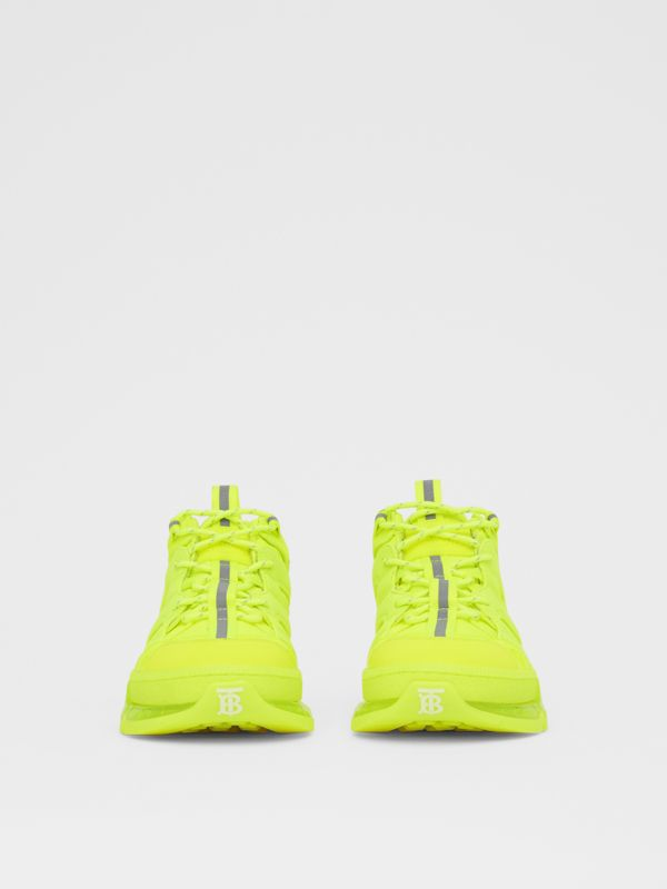 Nylon and Cotton Union Sneakers in Fluorescent Yellow - Women | Burberry - cell image 3
