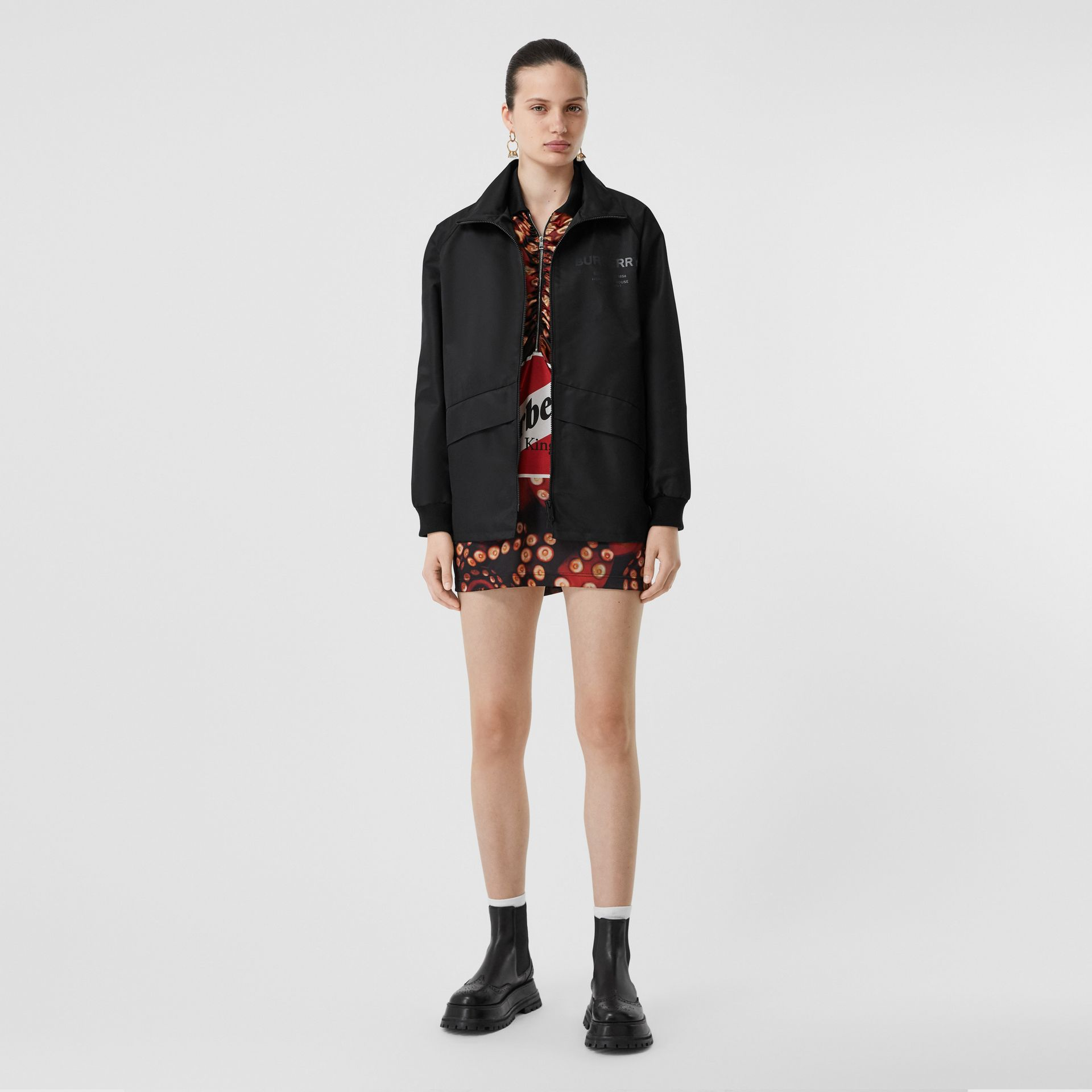 Horseferry Print Lightweight Funnel Neck Jacket in Black - Women | Burberry - gallery image 0