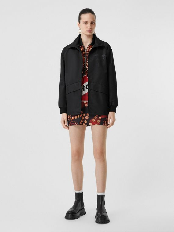 Horseferry Print Lightweight Funnel Neck Jacket in Black