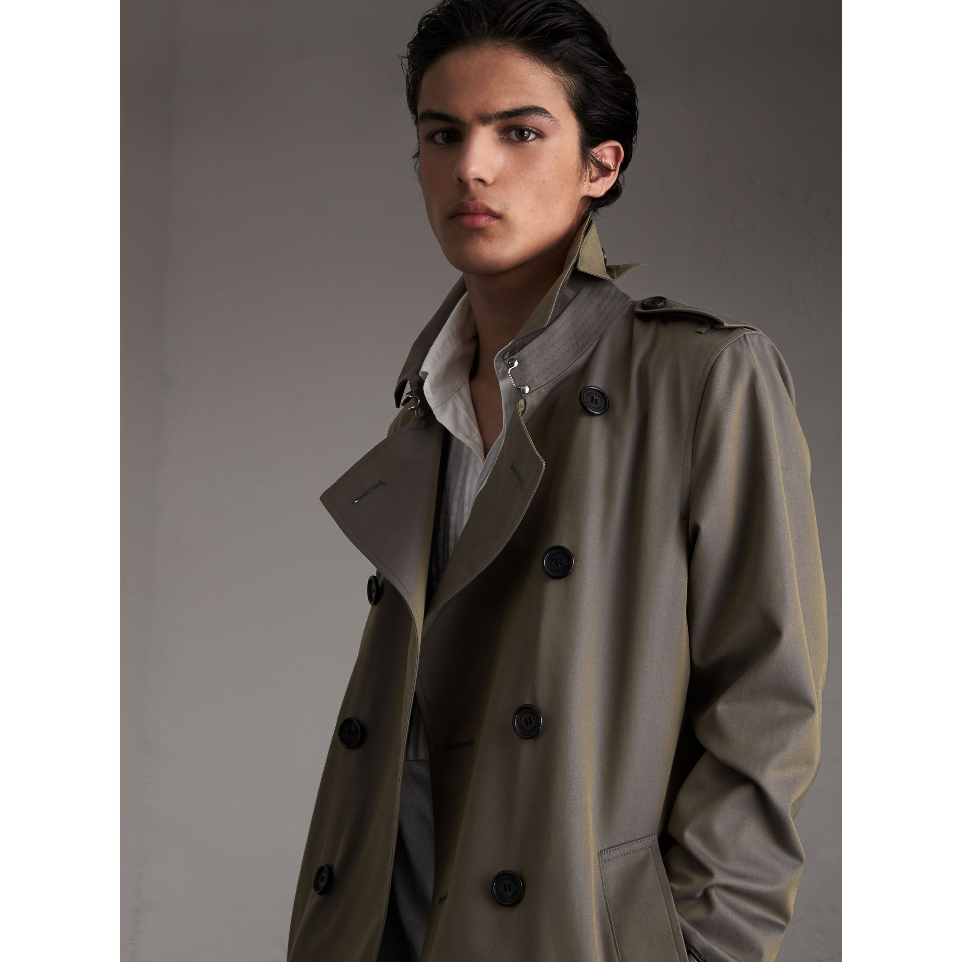 Cotton Gabardine Trench Coat in Storm Blue - Men | Burberry Australia - gallery image 5
